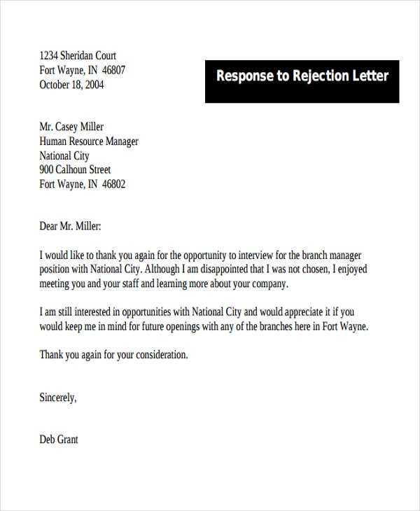 response to rejection letter1
