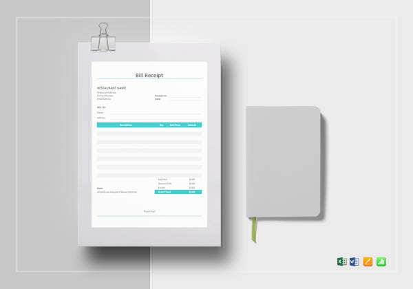 restaurant bill receipt template1