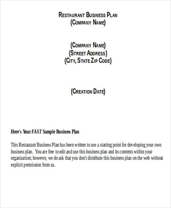 restaurant business template