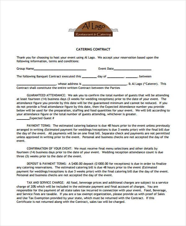 restaurant contract