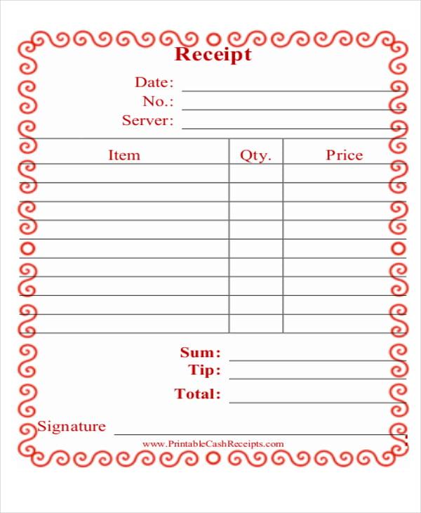 restaurant receipt