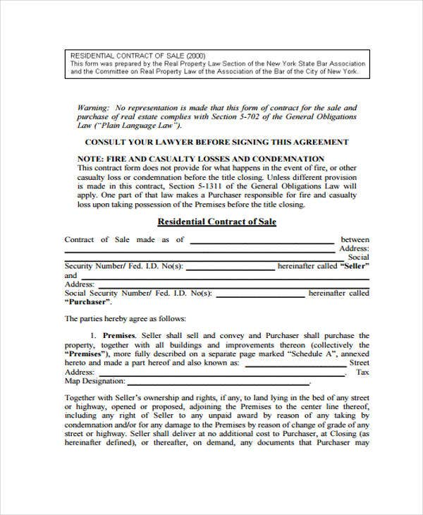 9 Sale Contract Templates Free Sample Example Format