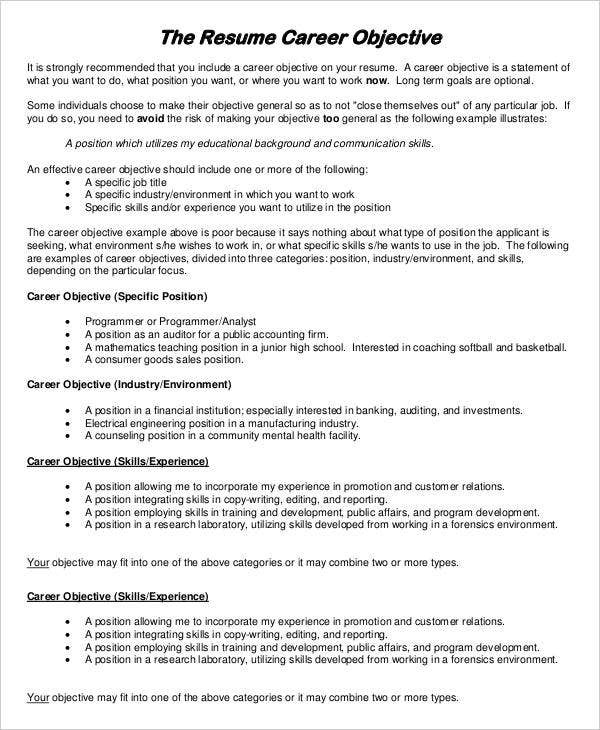 Resume Career Objective Example  Resume Job Objective Examples