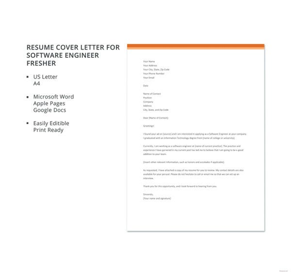 Resume Cover Letter Template For Software Engineer Fresher