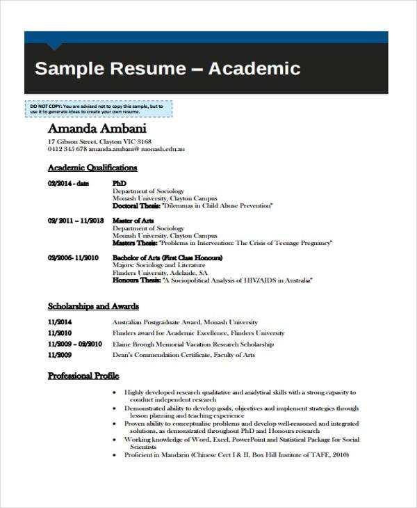 11  academic curriculum vitae templates