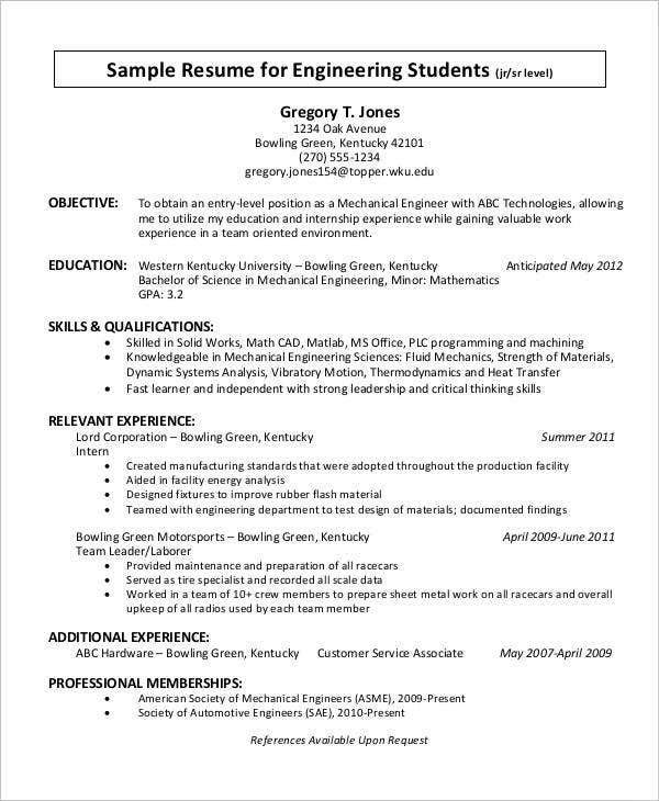 30 Resume Examples – Resume Objective Examples Engineering