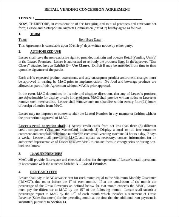 Concession Agreement Templates   Free Word Pdf Format Download