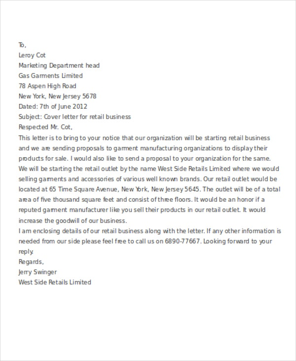 8 Business Cover Letter Examples – Retail Cover Letter