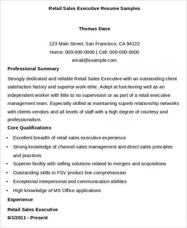 retail sales executive resume samples