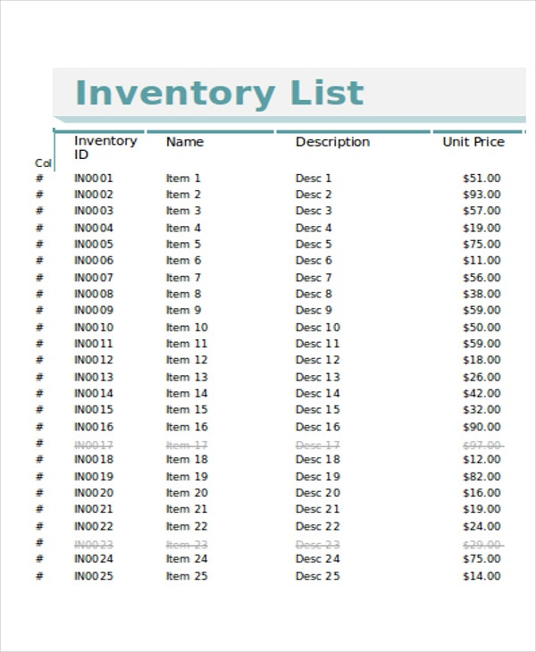Retail Store Inventory Template