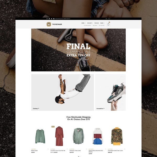 retailer ecommerce wordpress theme