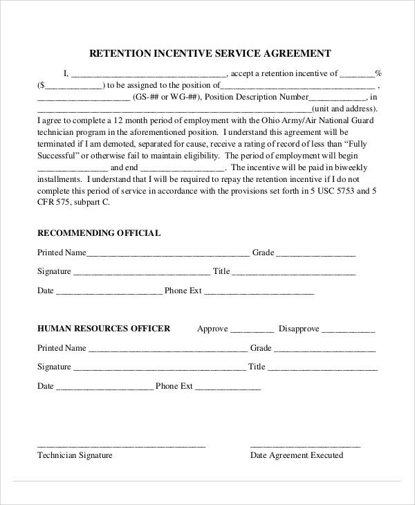 9  incentive agreement templates