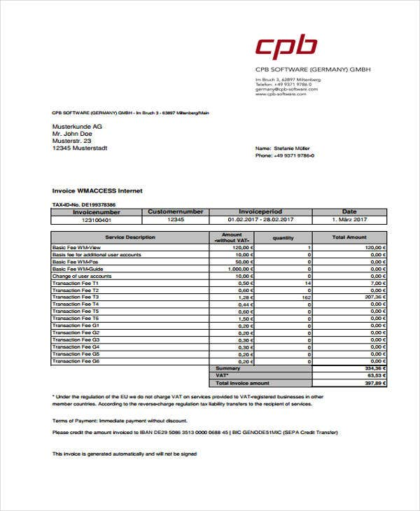 VAT Invoice Templates Sample Example Free Premium Templates - Charge invoice sample
