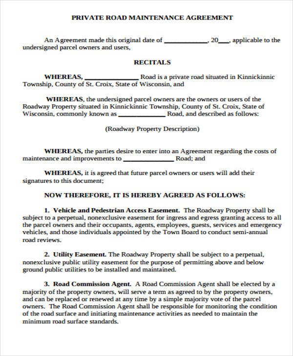 Maintenance Agreement Templates   Free Sample Example Format