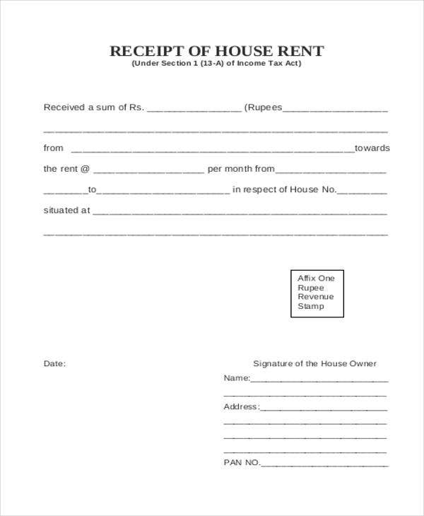 Room Rent Receipt  House Rent Receipt Format
