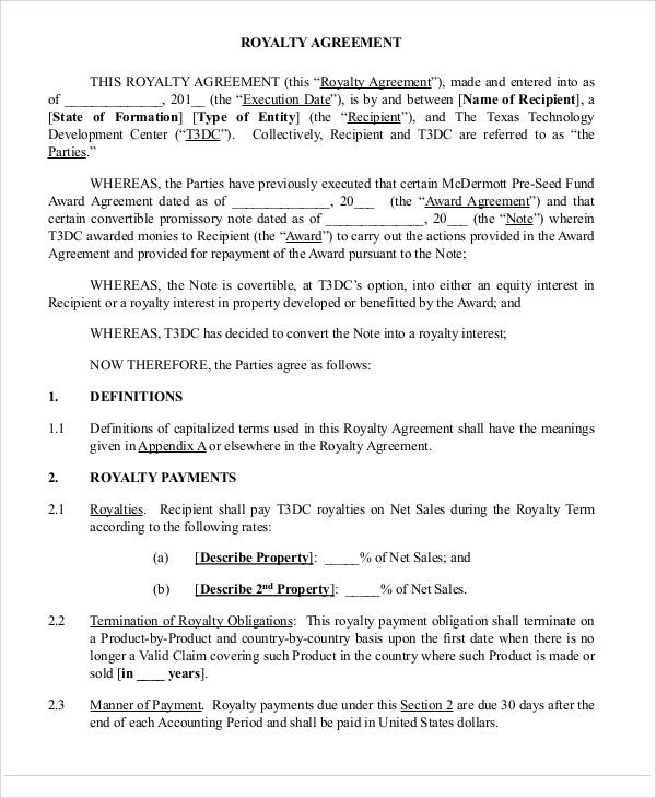 Patent Agreement Templates 12 Free Word PDF Format