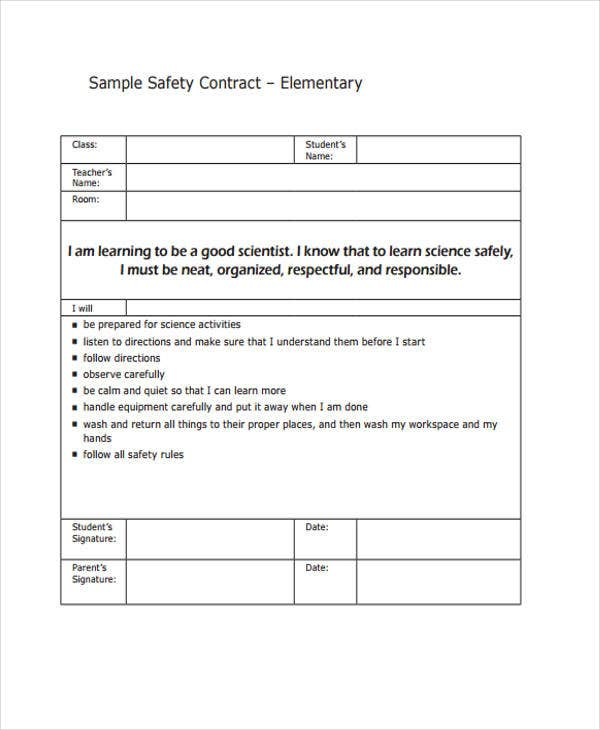 Safety Contract Templates  Free Sample Example Format