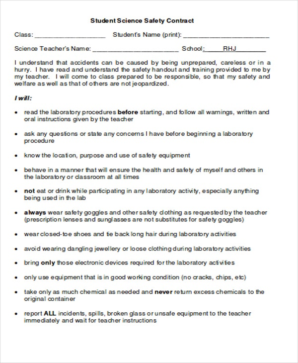 Safety Contract Templates Science Safety Contract For Student 9 – Student Agreement Contract