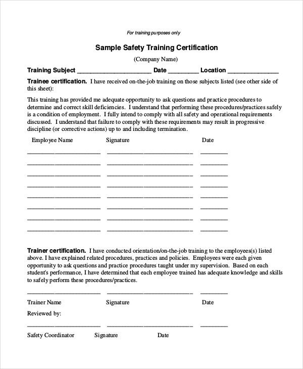 safety training certificate