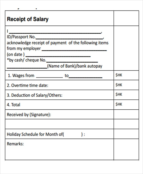 Salary Payment Receipt Template