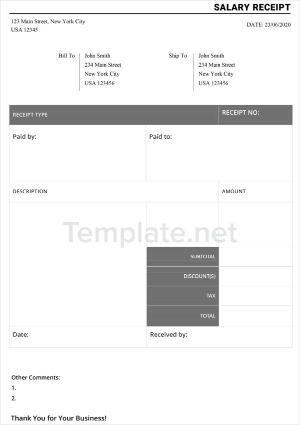 Salary Receipt Templates