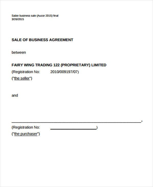 Business agreement templates 10 free word pdf format download sale of business wajeb Image collections