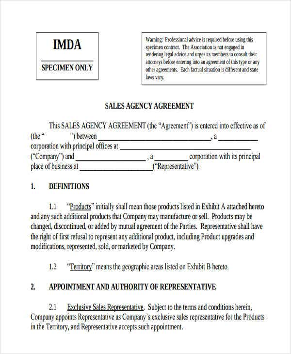 Beautiful Agency Agreement Template Free Contemporary  Resume Ideas