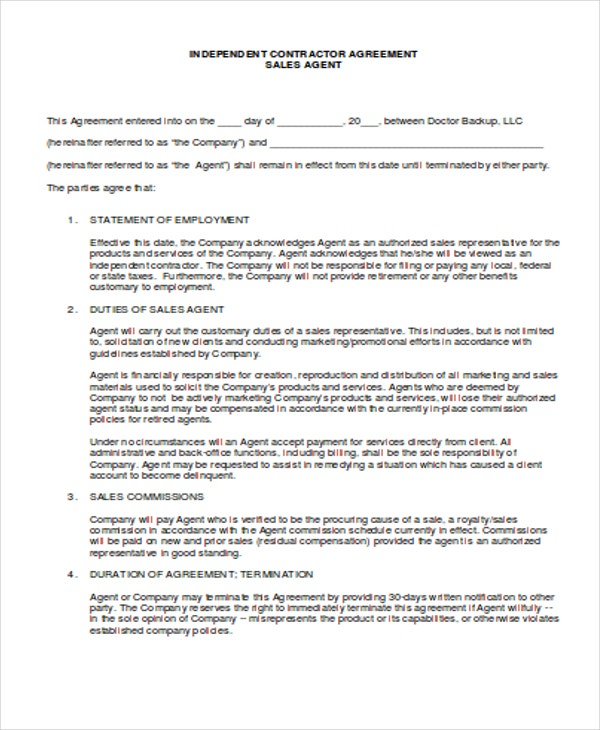 5 Independent Contract Templates Sample Examples – Agent Contract Agreement