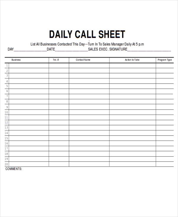 call sheet template printable | datariouruguay