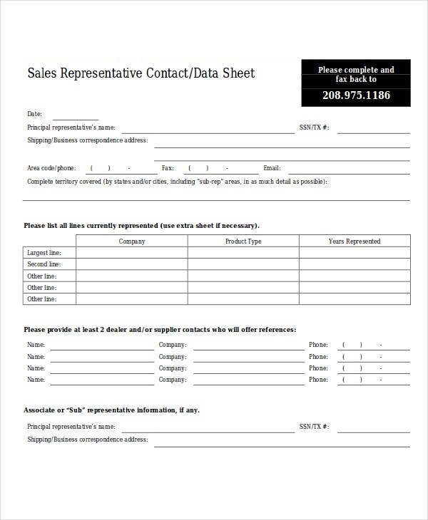 9 Sales Sheet Templates Free Sample Example Format Download – Sample Contact Sheet