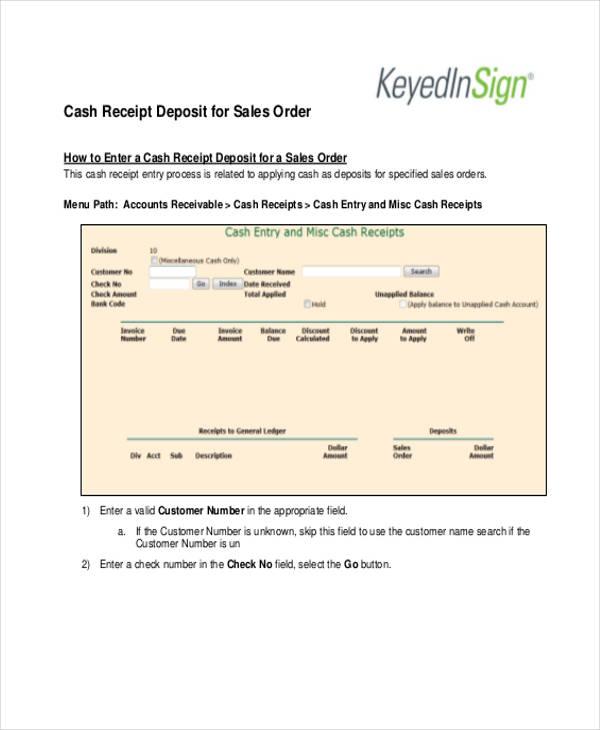sales order receipt