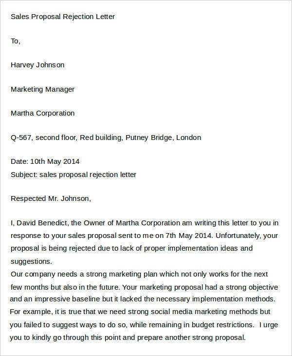 Sales Proposal Rejection Letter