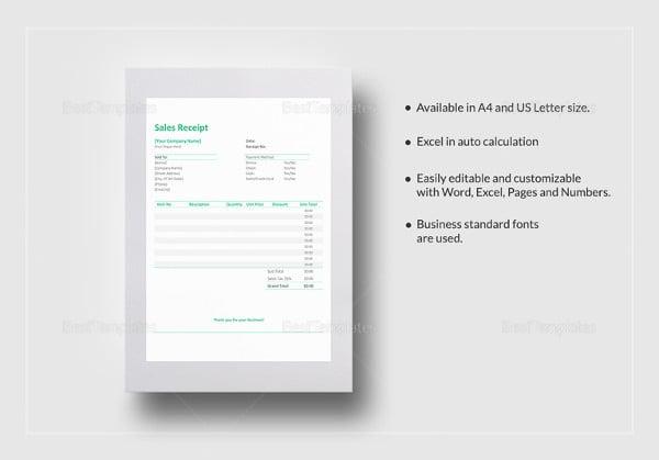 sales receipt template in google docs