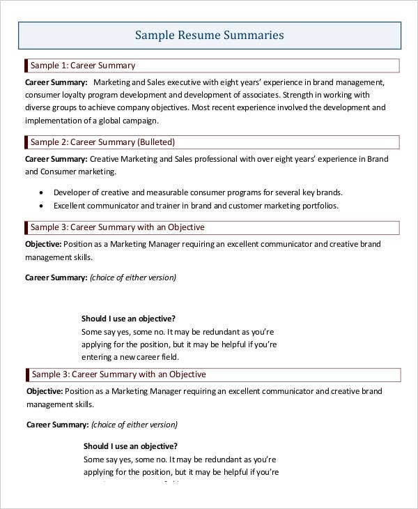 Career Summary Example Resume Career Summary Examples  Resume