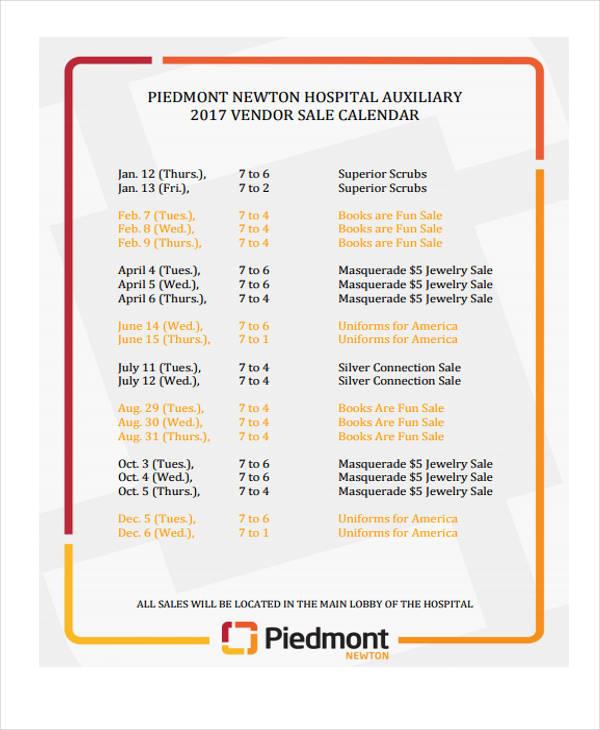 sales vendor calendar