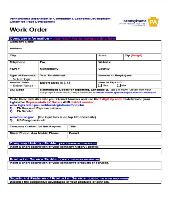 sales work order