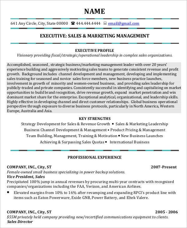 Sales and Marketing Management Executive Resume