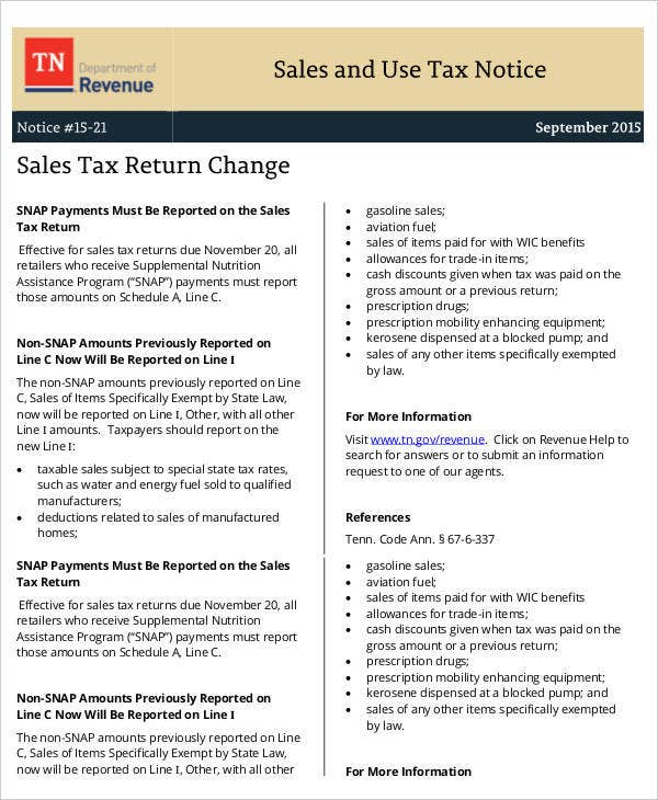 sales and use tax notice