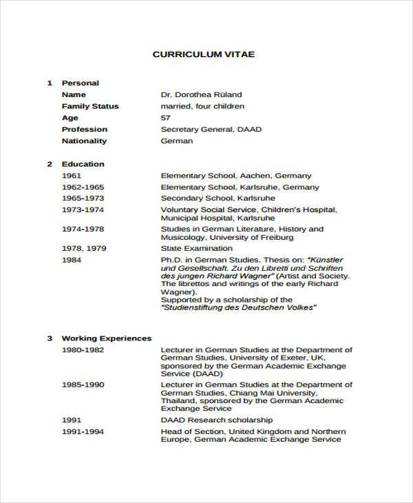 Sample Academic Cv Pdf