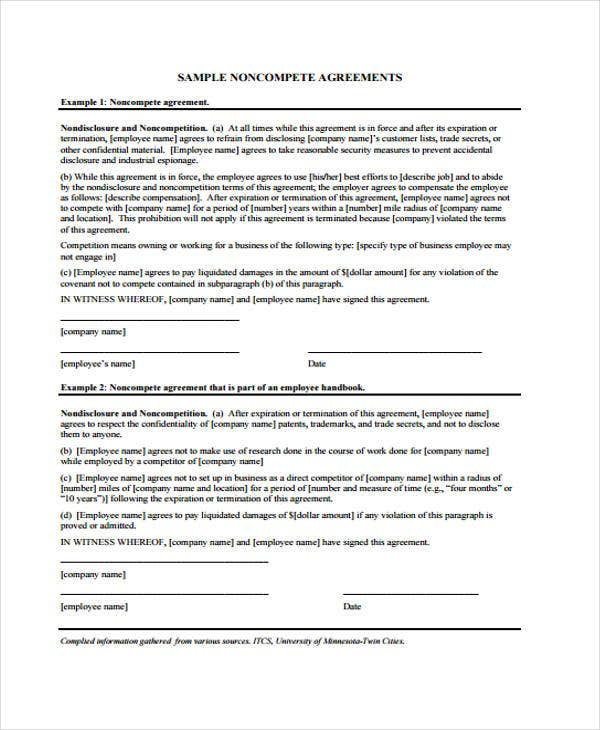 34 printable agreement templates free premium templates sample non compete agreement platinumwayz