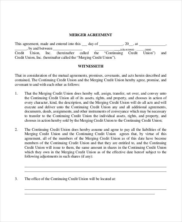 Merger Agreement Templates - 10 Free Word, PDF Format Download ...
