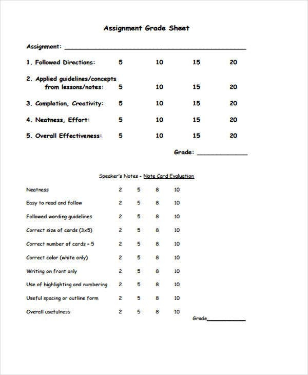 sample assignment sheet