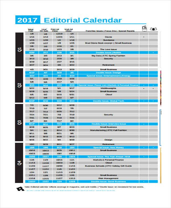 6+ Editorial Calendar Templates - Free Word, Pdf Format Download