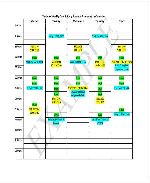 sample class schedule