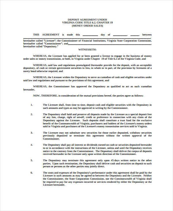 11  deposit agreement templates