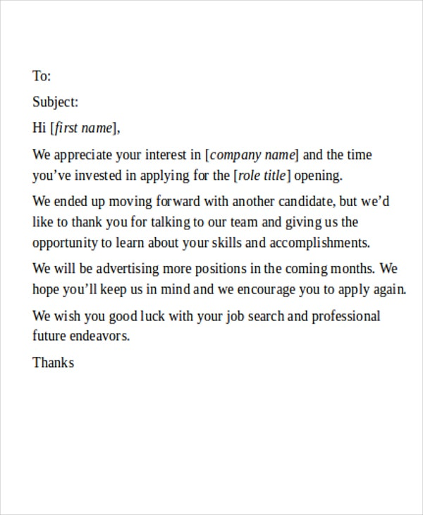 23 Rejection Letter Templates Word Google Docs Apple