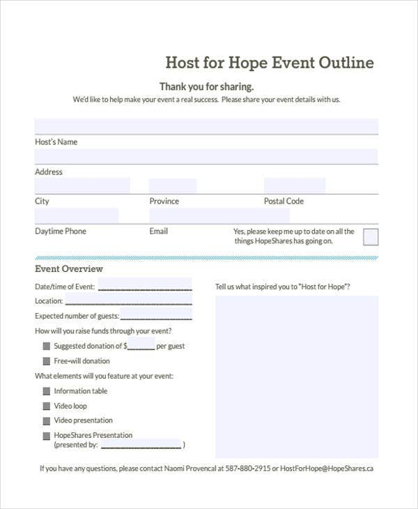 sample event outline