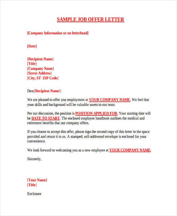job offer letter template 8 employment offer letter templates free samples 14696