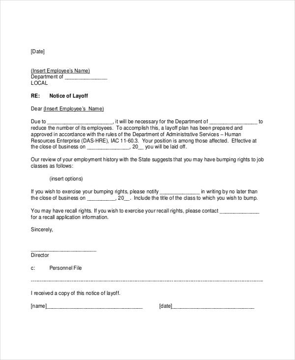 8 Layoff Notice Templates - Free Sample, Example Format Download