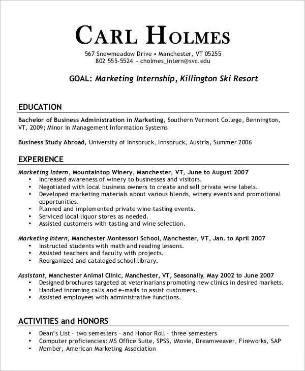 Sample Marketing Internship Resume